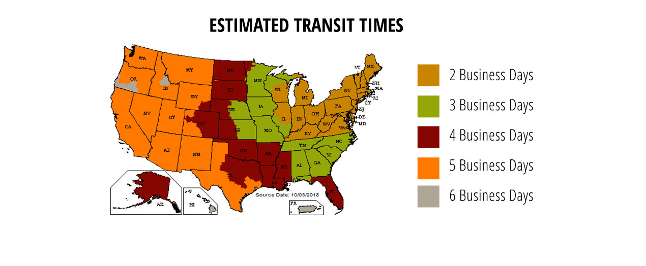 Holiday Estimated Transit Times